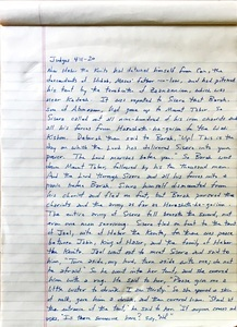 Handwritten page from the book of Judges chapter 4 verses 11 through 20