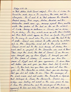 Handwritten page from the book of Judges chapter 6 verses 2 through 12.
