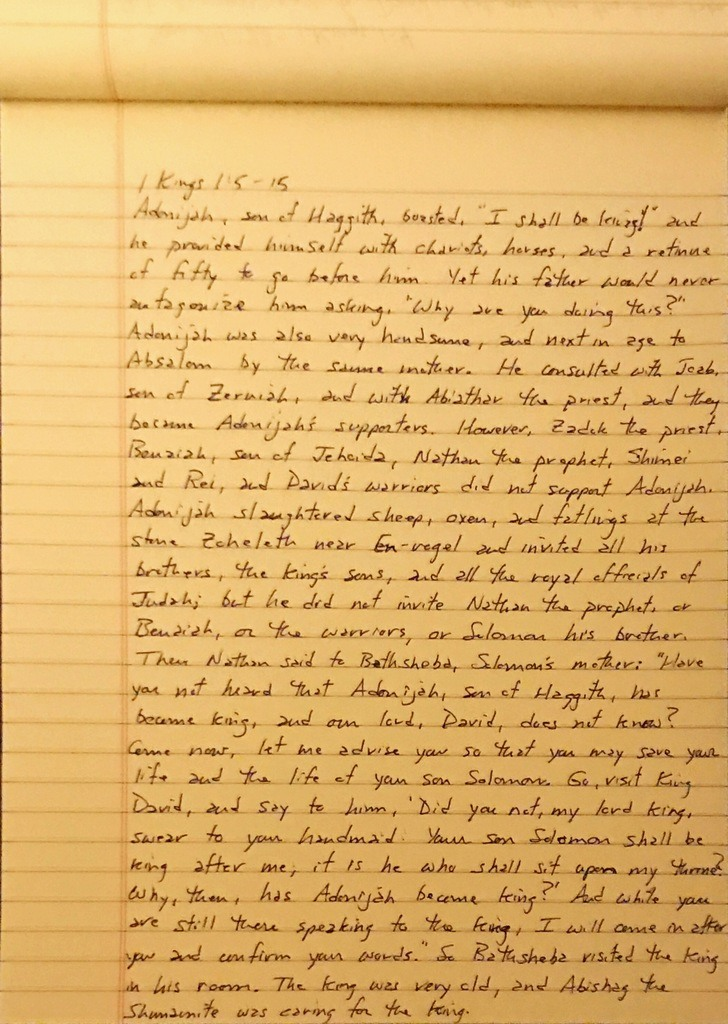 Handwritten page from the first book of Kings chapter 1 verse 5 through 15.