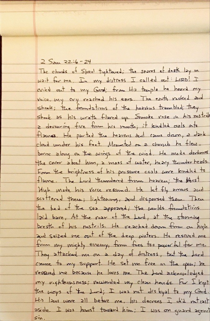 Handwritten page from the second book of Samuel chapter 22 verses 6 through 24