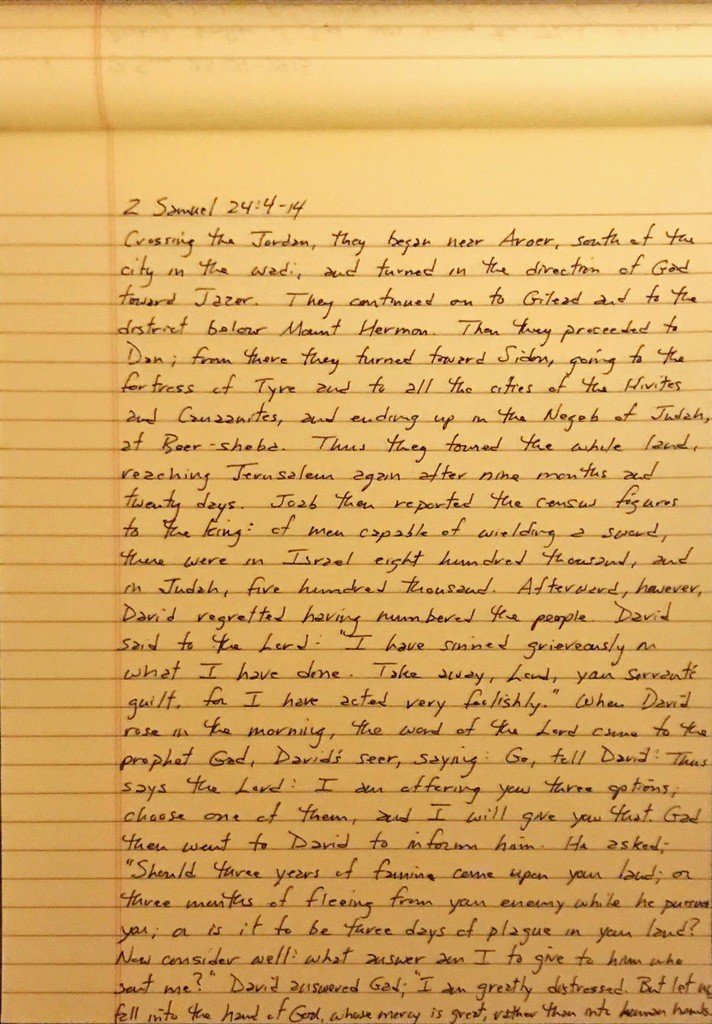 Handwritten page from the second book of Samuel chapter 24 verses 4 through 14.