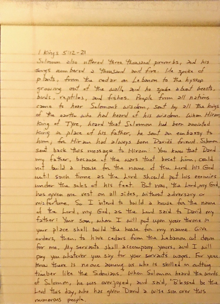 Handwritten page from the first book of Kings chapter 5 verses 12 through 21.