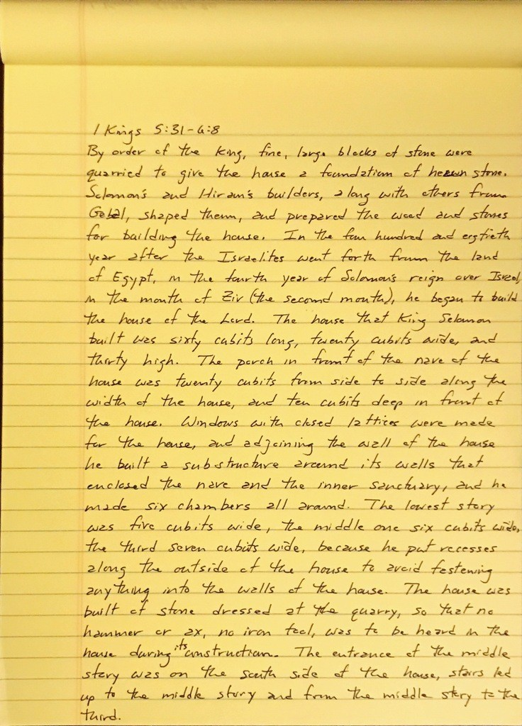 Handwritten page from the first book of Kings chapter 5 verse 31 through chapter 6 verse 8.