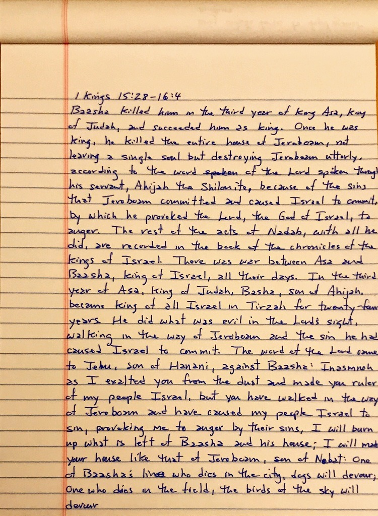 Handwritten page from the first book of Kings chapter 15 verse 28 through chapter 16 verse 4.