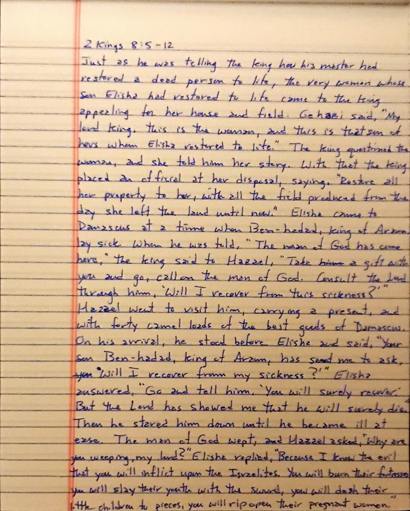 Handwritten page from the second book of Kings chapter 8 verses 5 through 12