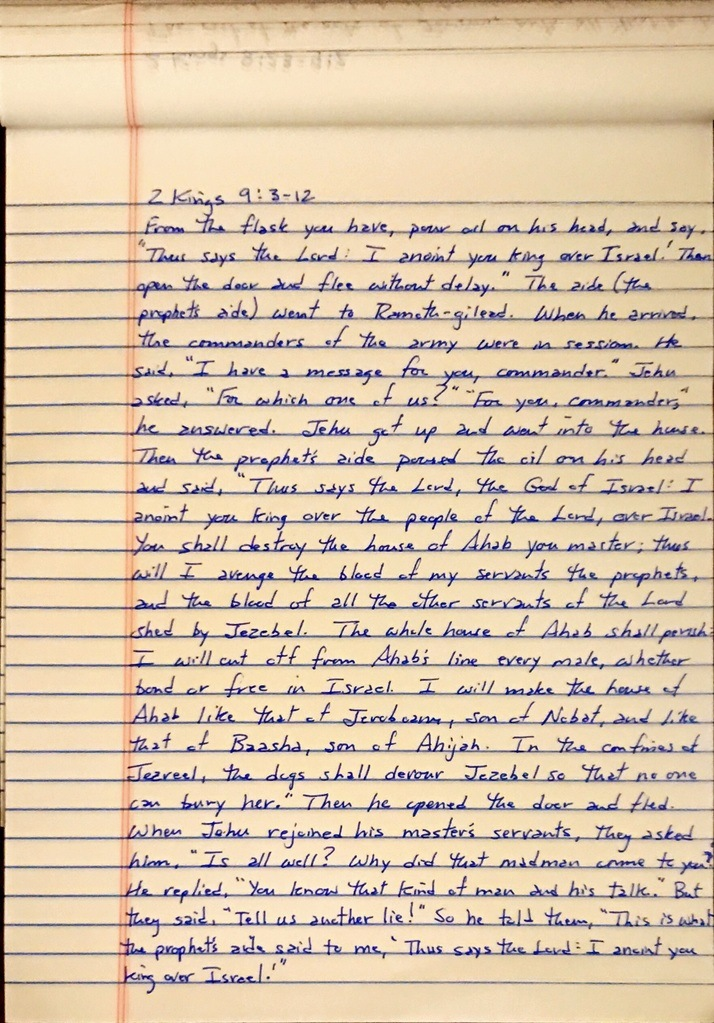 Handwritten page from the second book of Kings chapter 9 verses 3 through 12.