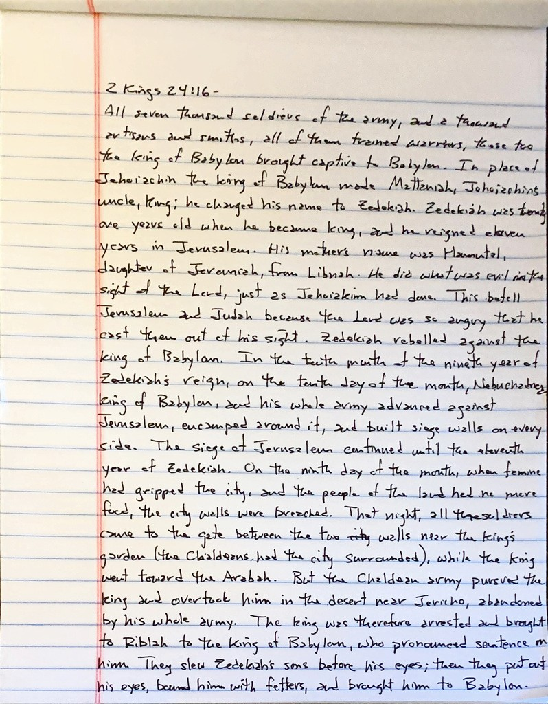 Handwritten page from the second book of kings chapter 24 verse 16 through chapter 25 verse 7