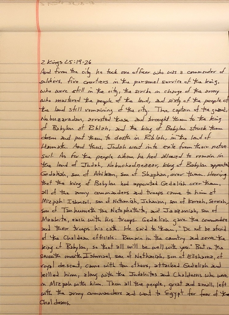 Handwritten page from the second book of Kings chapter 25 verses 9 through 26