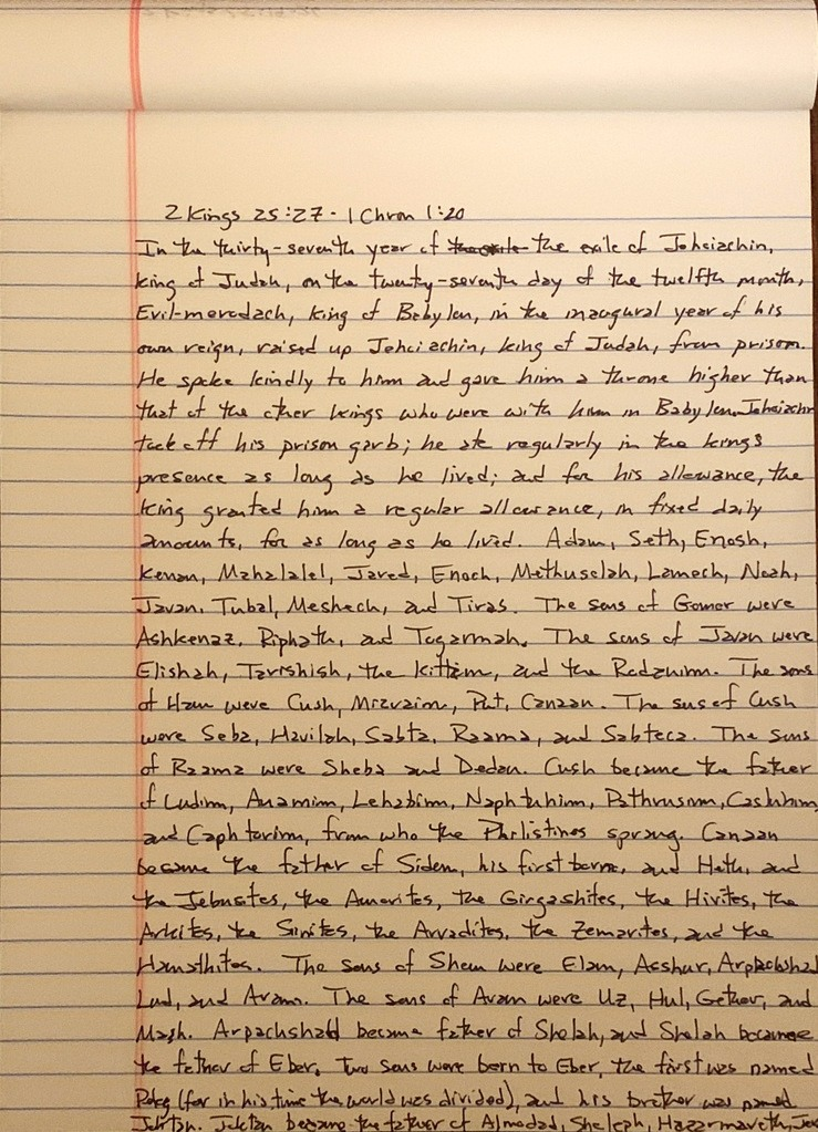 Handwritten page from the second book of Kings chapter 25 verse 27 through the first book of Chronicles chapter 1 verse 20.