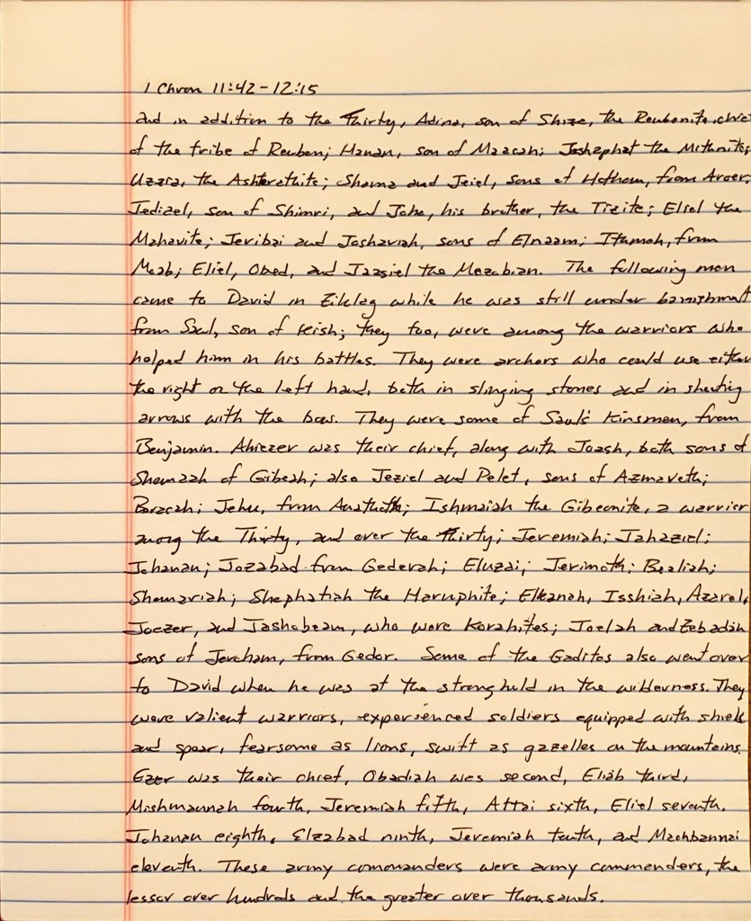 Handwritten page from the first book of Chronicles chapter 11 verse 42 through chapter 12 verse 15