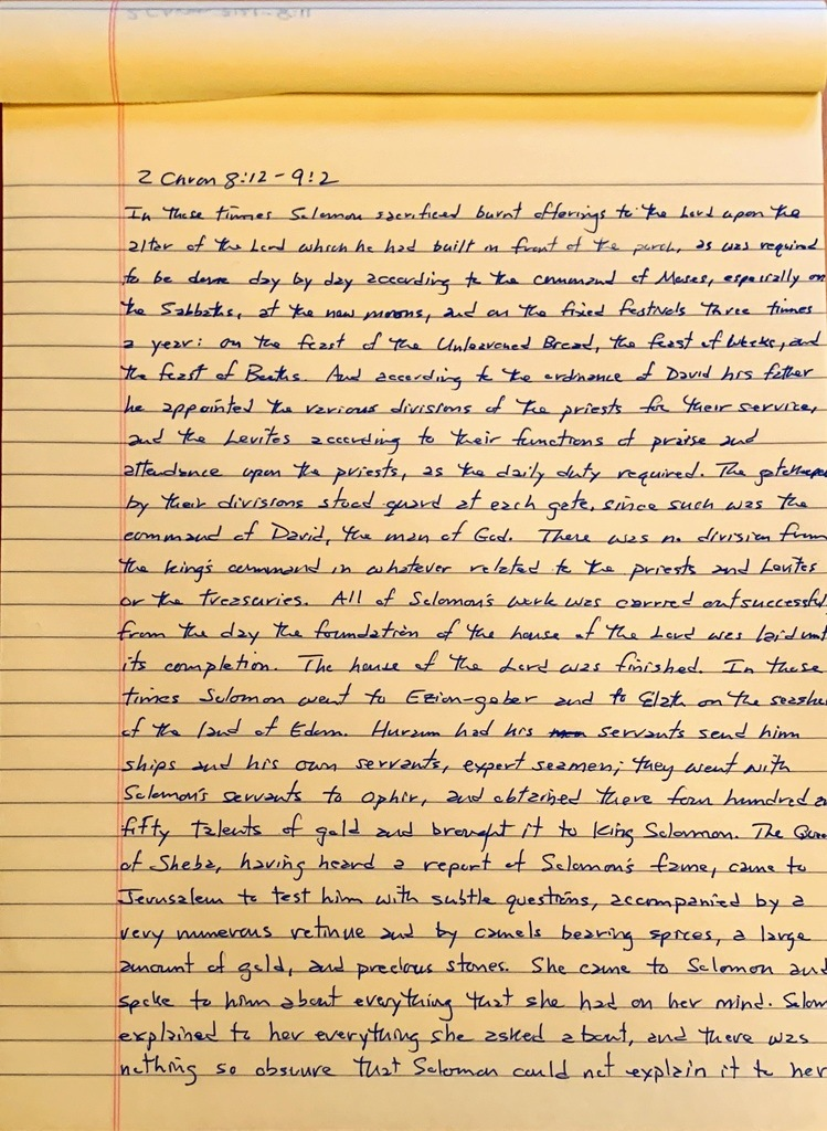 Handwritten page from the second book of Chronicles chapter 8 verse 12 through chapter 9 verse 2.