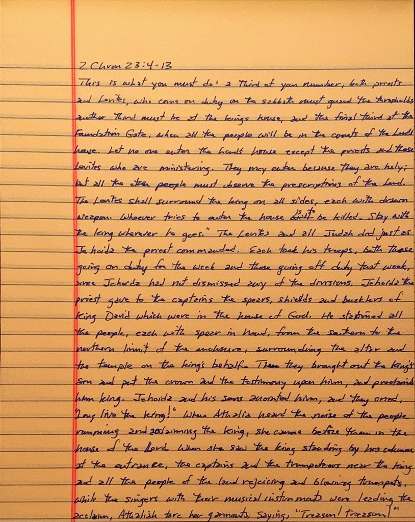 Handwritten page from the second book of Chronicles chapter 23 verses 4 through 13.