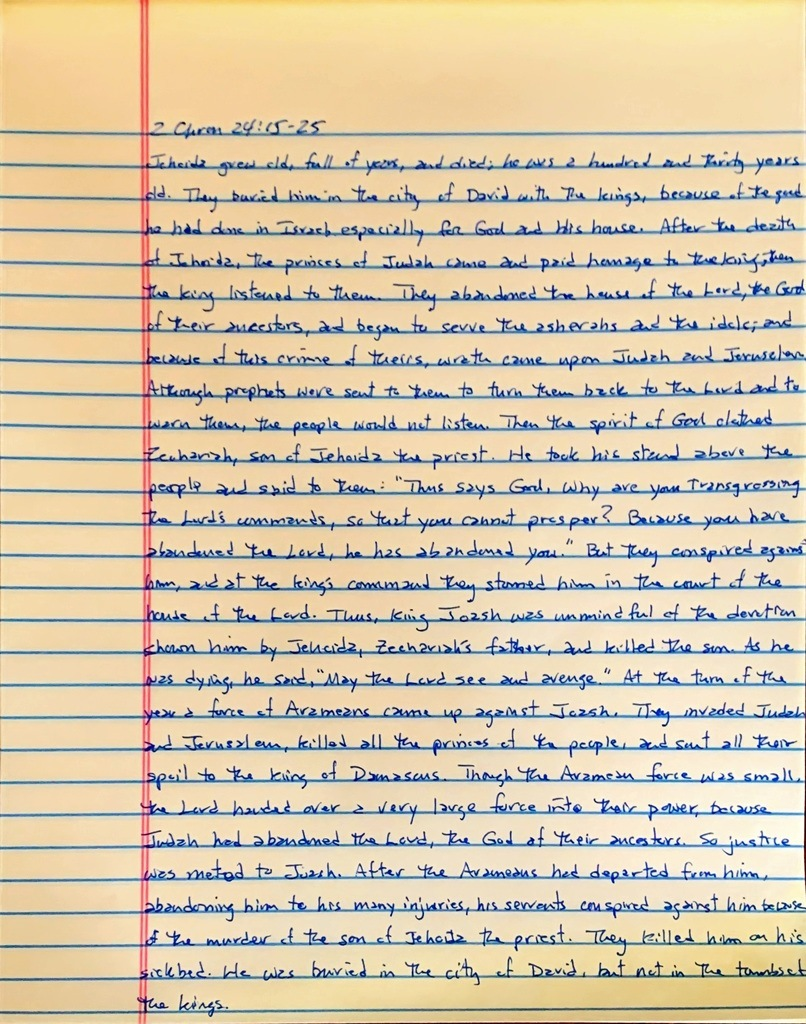 Handwritten page from the second book of Chronicles chapter 24 verses 15 through 25.
