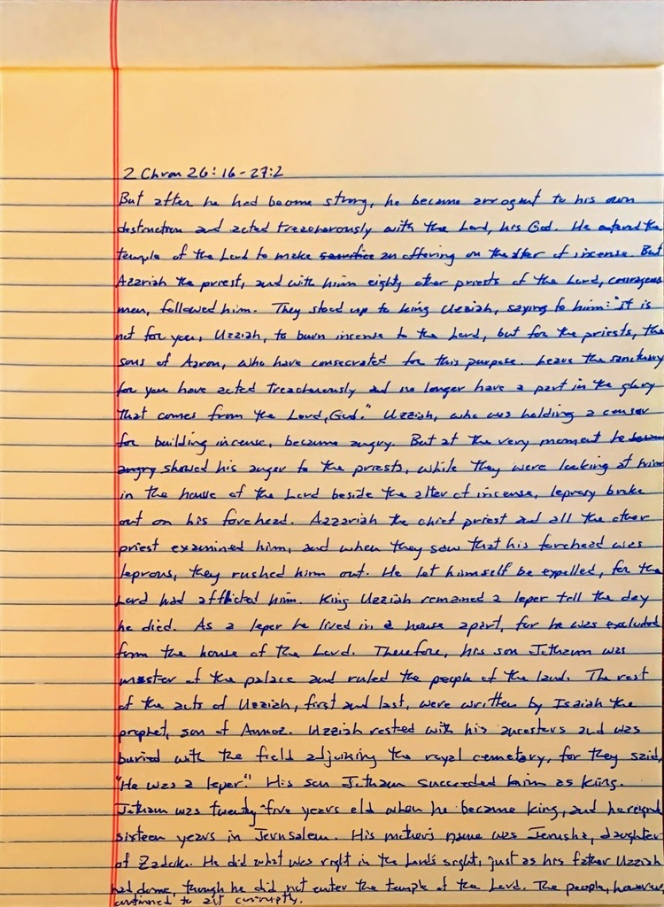 Handwritten page from the second book of Chronicles chapter 26 verse 16 through chapter 27 verse 2.
