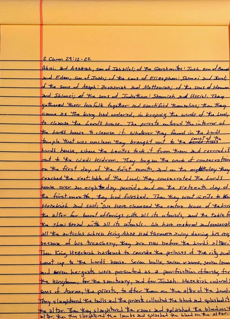 Handwritten page from the second book of Chronicles chapter 29 verses 12 through 22.