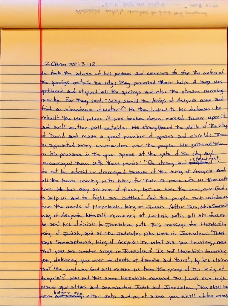 Handwritten page from the second book of Chronicles chapter 32 verses 3 through 12.