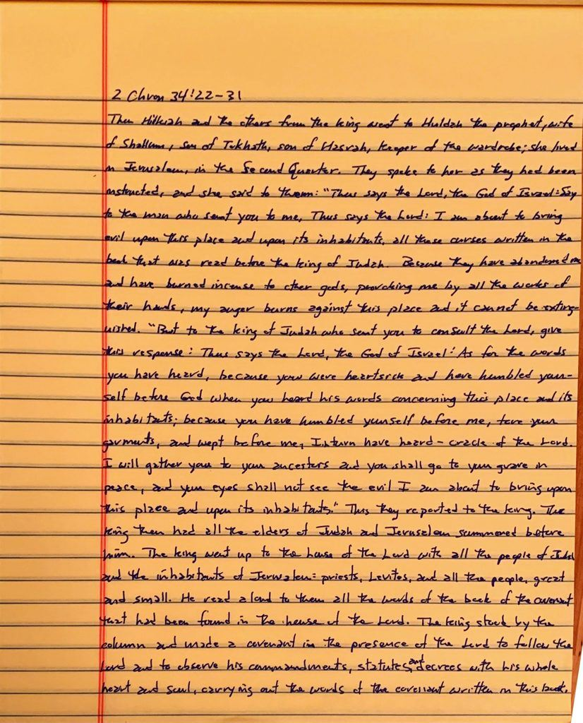 Handwritten page from the second book of Chronicles chapter 34 verse 22 through 31.