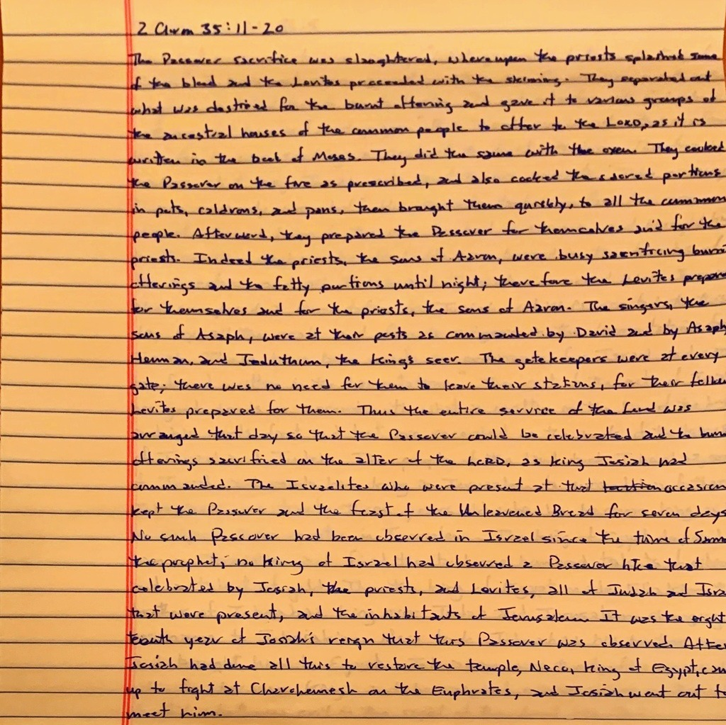 Handwritten page from the second book of Chronicles chapter 35 verses 11-20.