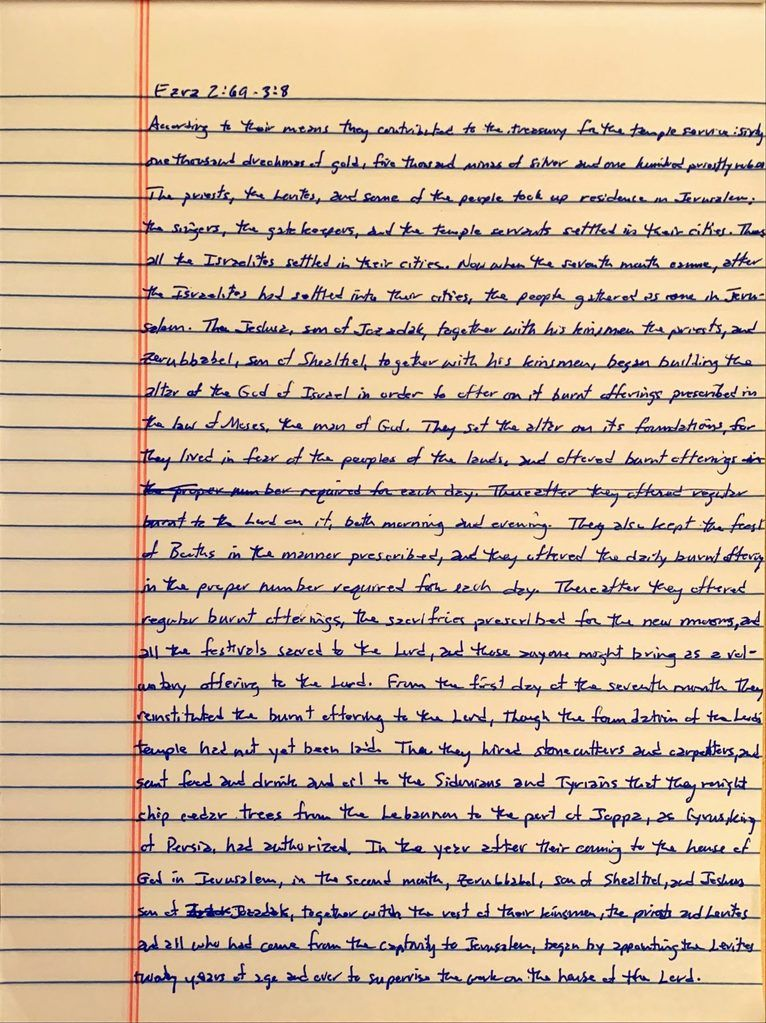 Handwritten page from the book of Ezra chapter 2 verse 69 through chapter 3 verse 8.