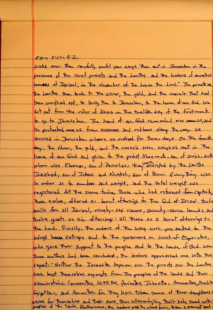Handwritten page from the book of Ezra chapter 8 verse 29 through chapter 9 verse 2