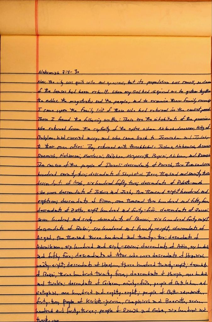 Handwritten page from the book of Nehemiah chapter 7 verses 4 through 30.