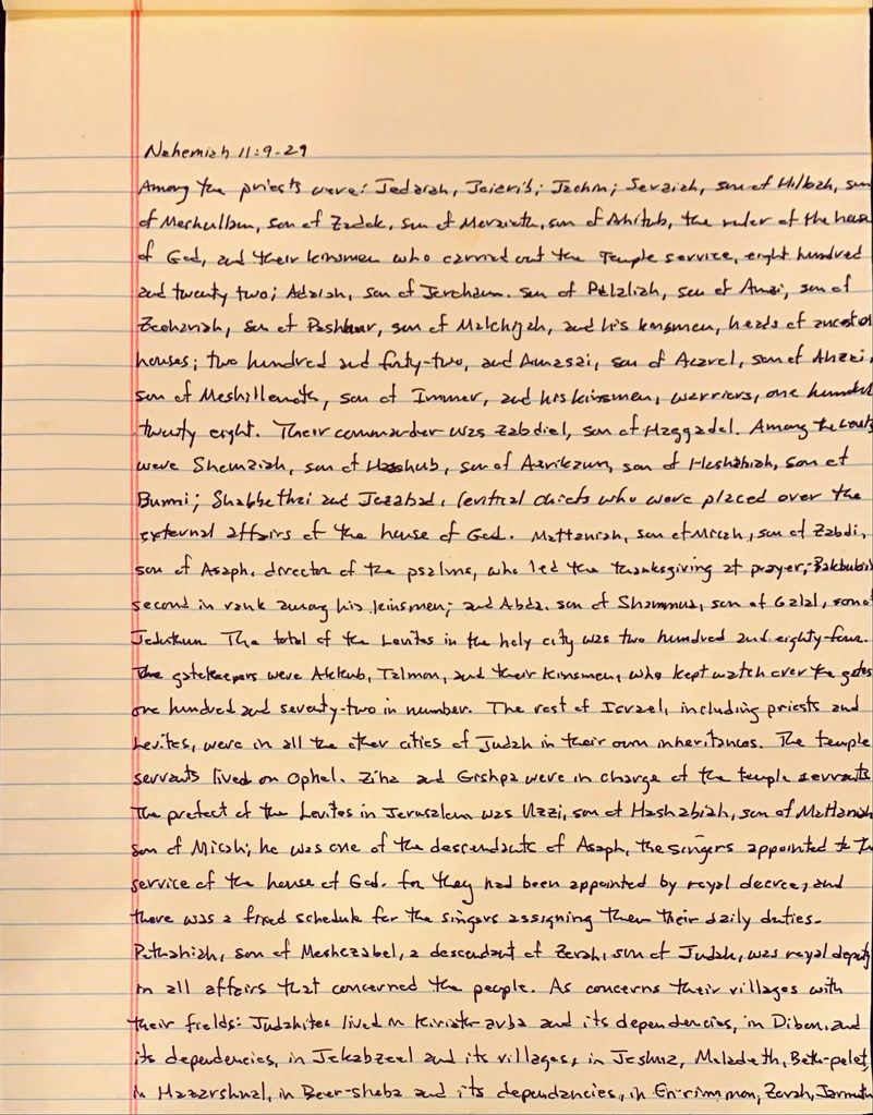Handwritten page from the book of Nehemiah chapter 11 verses 9 through 29.