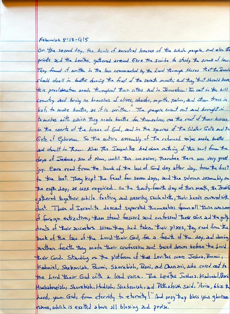 Handwritten page from the book of Nehemiah chapter 8 verse 13 through chapter 9 verse 5.