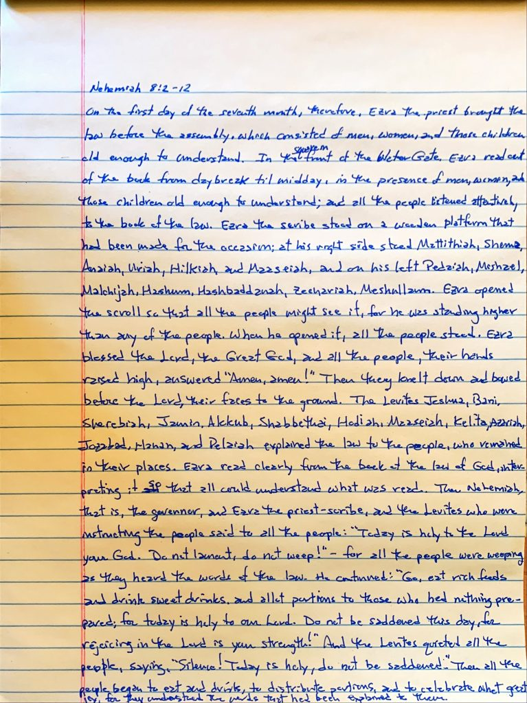 Handwritten page from the book of Nehemiah chapter 8 verses 2 through 12.