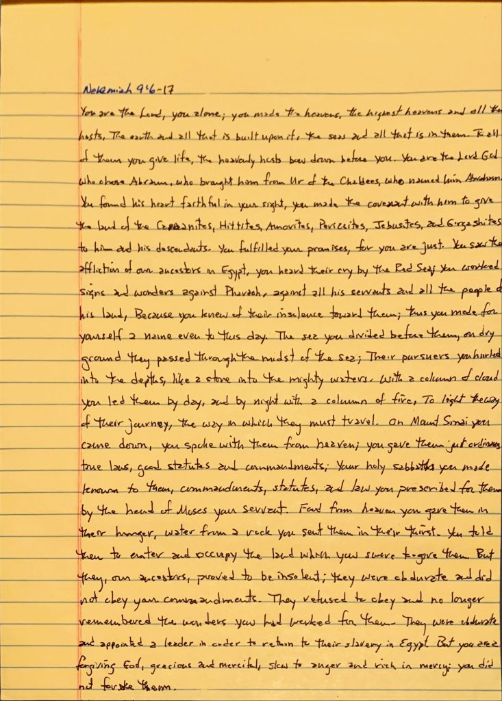 Handwritten page from the book of Nehemiah chapter 9 verses 6 through 17.