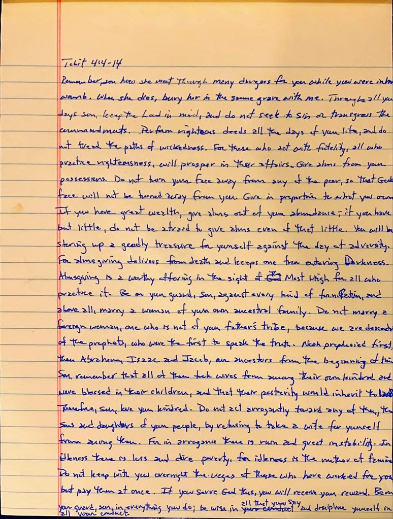 Handwritten page from the book of Tobit chapter 4 verses 4 through 14.