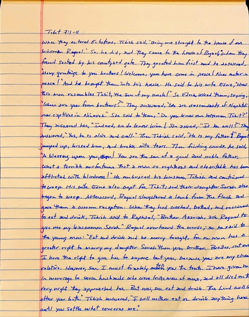 Handwritten page from the book of Tobit chapter 7 verses 1 through 11.
