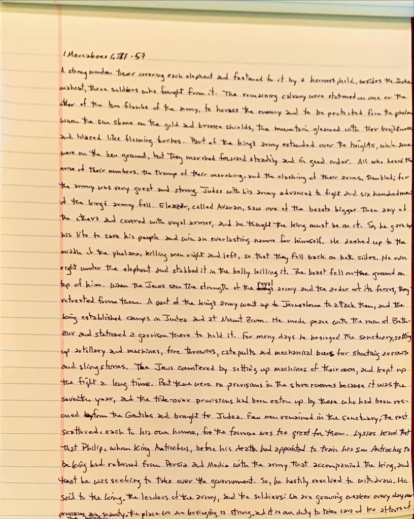 Handwritten page from the first book of Maccabees chapter 6 verses 37 through 57.