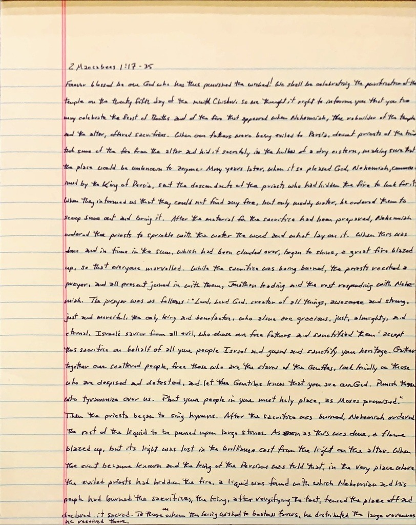 Handwritten page from the second book of Maccabees chapter 1 verses 17 through 35.