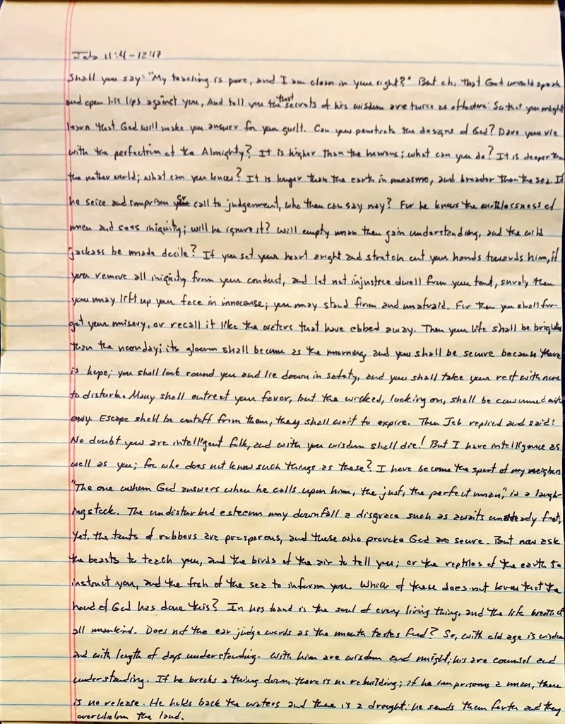 Handwritten page from the book of Job chapter 11 verse 4 through chapter 12 verse 17.