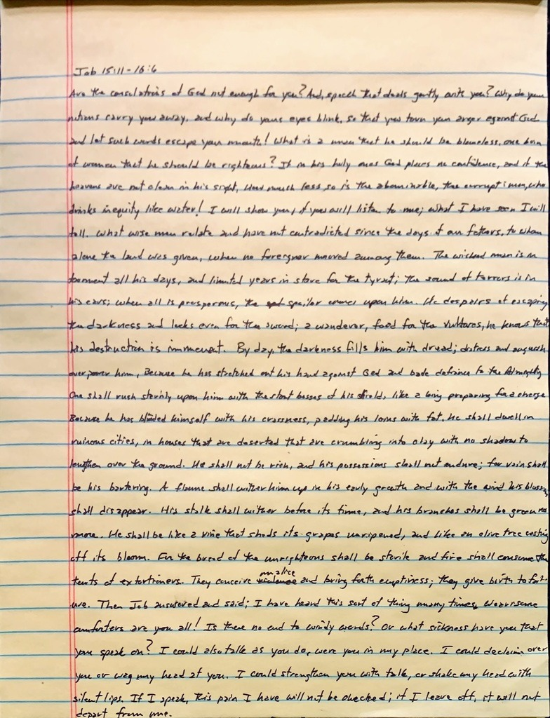 Handwritten page from the book of Job chapter 15 verse 11 through chapter 16 verse 6