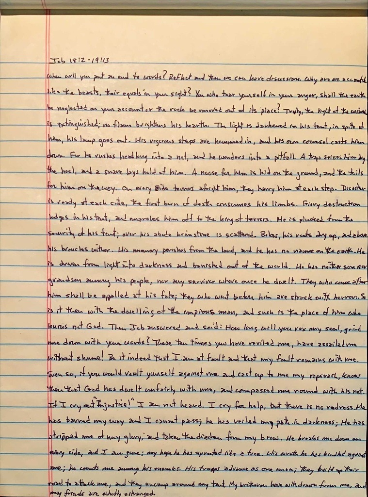 Handwritten page from the book of Job chapter 18 verse 2 through chapter 19 verse 13