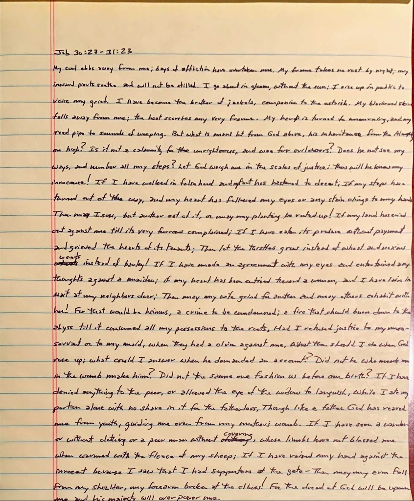 Handwritten page from the book of Job chapter 30 verse 27 through chapter 31 chapter 23.