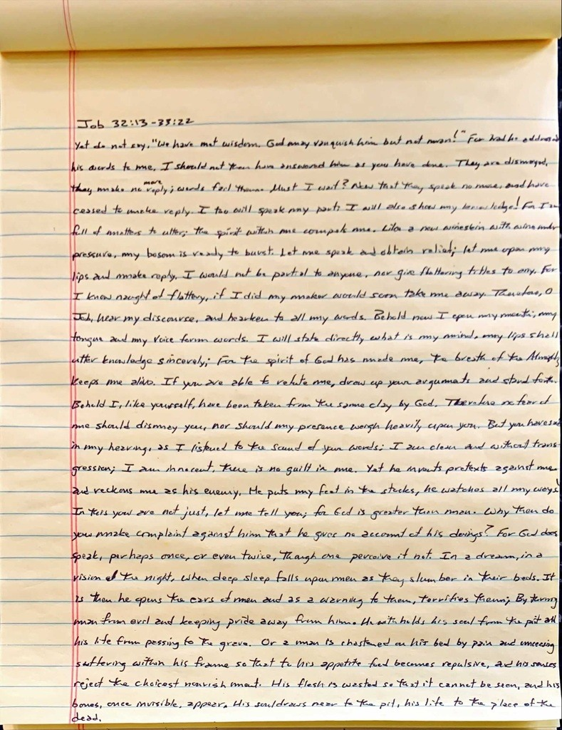 Handwritten page from the book of Job chapter 32 verse 13 through chapter 33 verse 22