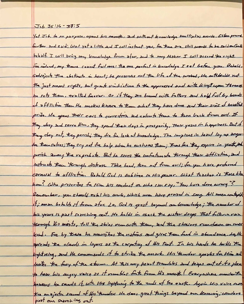 Handwritten page from the book of Job chapter 35 verse 16 through chapter 37 verse 5.