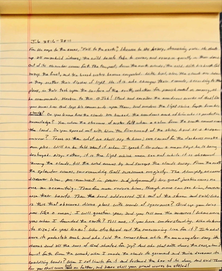 Handwritten page from the book of Job chapter 37 verse  through chapter 38 verse 11.