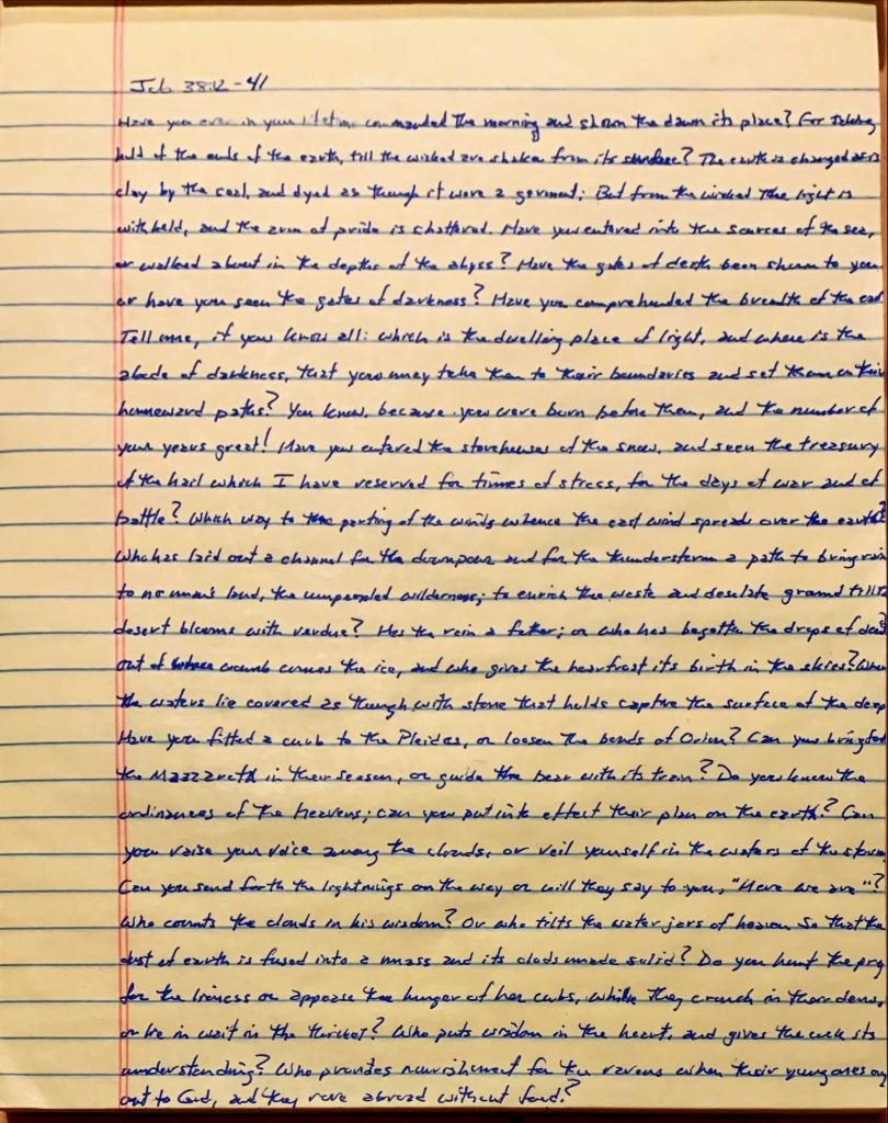 Handwritten page from the book of Job chapter 38 verses 12 through 41