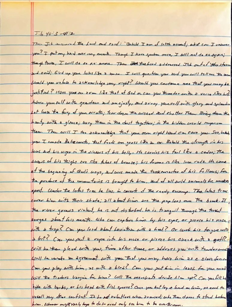 Handwritten page from the book of Job chapter 40 verse 3 through chapter 41 verse 2.