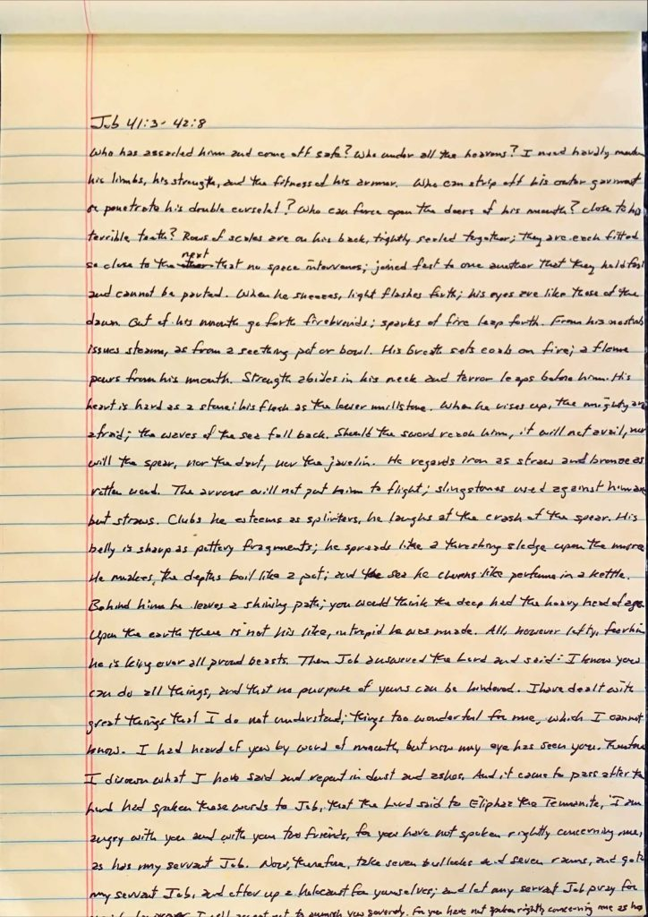 Handwritten page from the book of Job chapter 41 verse 3 through chapter 42 verse 8.