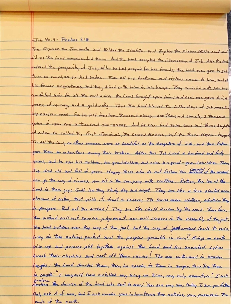 Handwritten page from the book of Job chapter 42 verse 9 through the book of Psalms chapter 2 verse 8