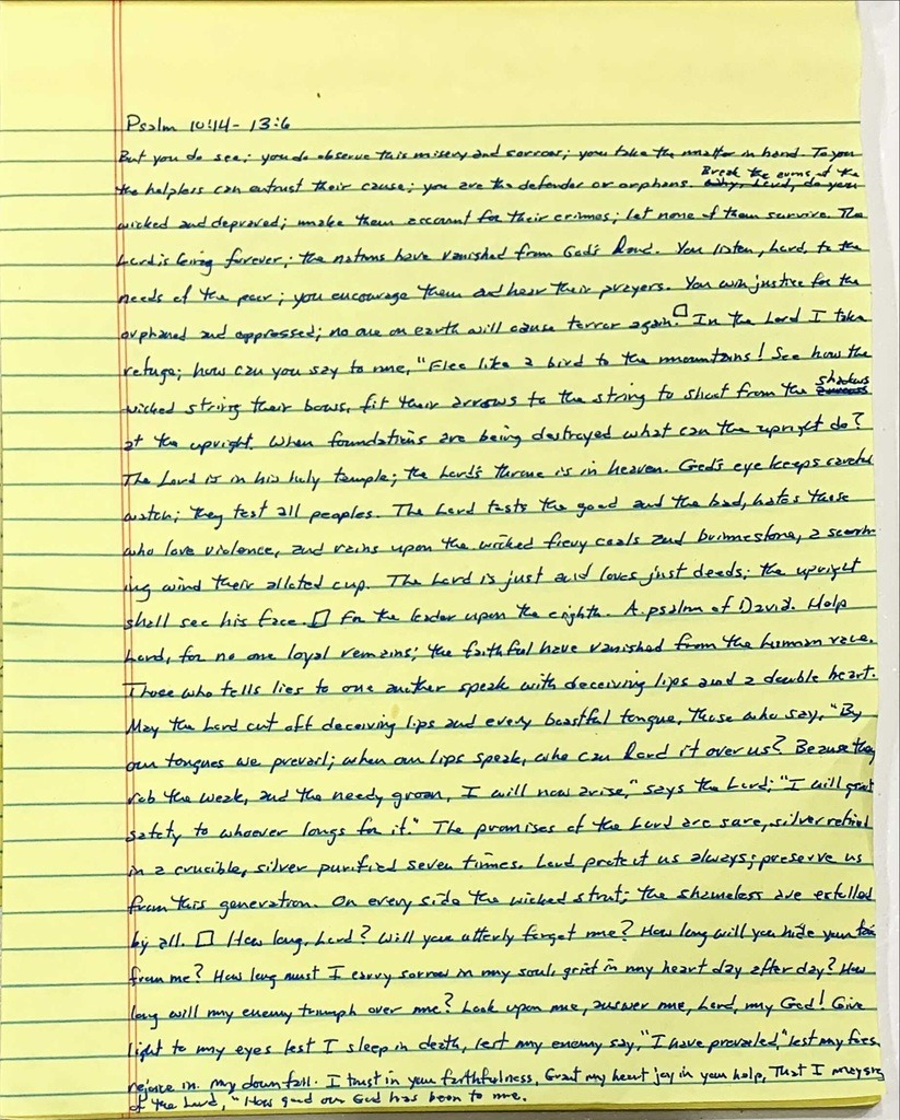 Handwritten page from the book of Psalms chapter 10 verse 14 through chapter 13 verse 6.