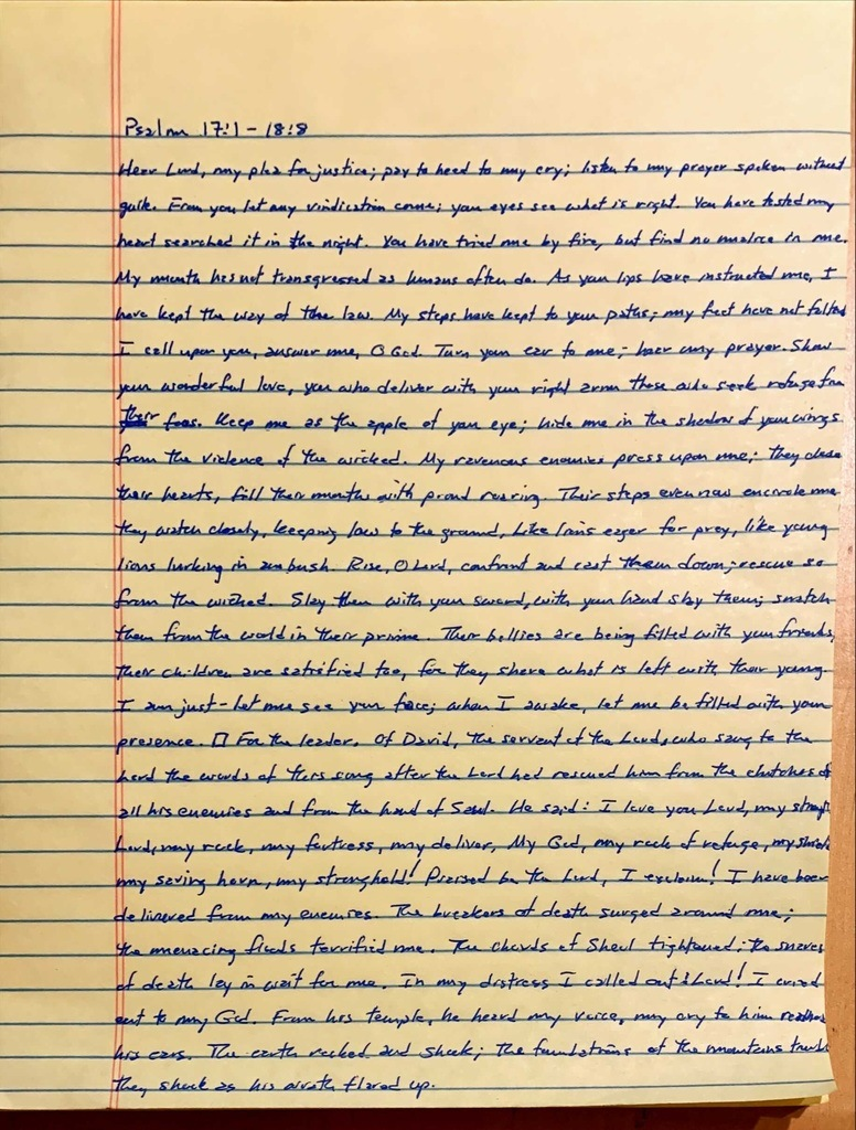 Handwritten page from the book of Psalms chapter 17 verse 1 through chapter 18 verse 8