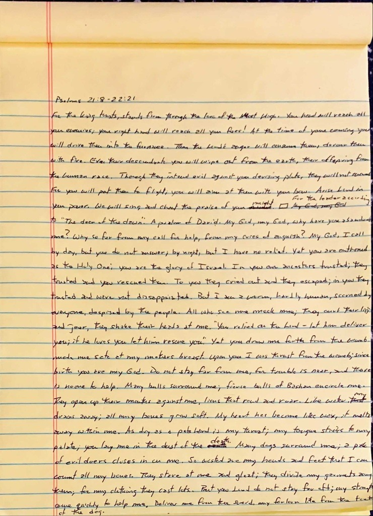 Handwritten page from the book of Psalms chapter 21 verse 8 through chapter 22 verse 21